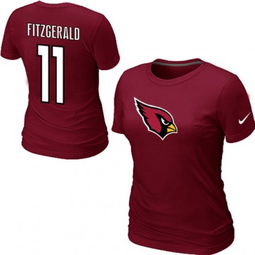 Women's Arizona Cardinals Red Larry Fitzgerald Name & Number T-Shirt - By Nike
